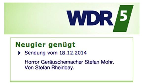 WDR 5 Feature: Horror Geräuschemacher Stefan Mohr